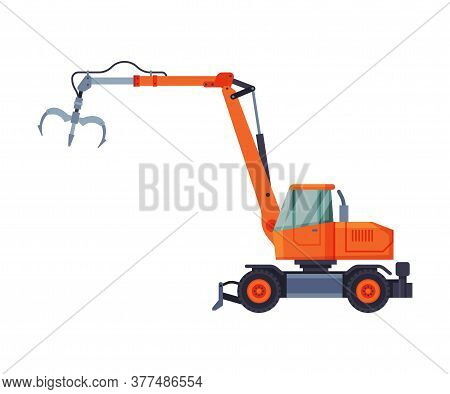 Telescopic Grapple Bulldozer, Special Industrial Machinery Flat Style Vector Illustration On White B