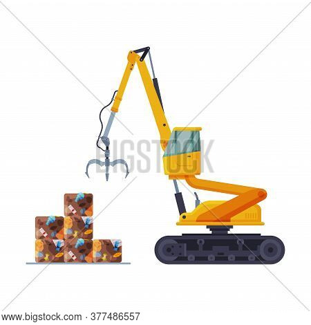 Grapple Bulldozer Packaging Garbage Into Stacks, Waste Collection, Transportation And Recycling Conc