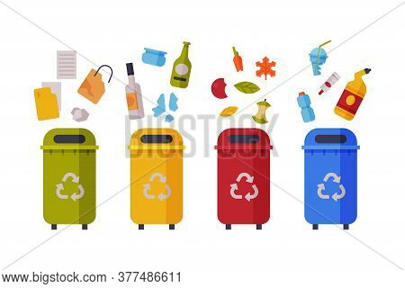 Waste Sorting, Set Of Different Colorful Trash Bins With Sorted Garbage, Paper, Glass, Organic, Plas