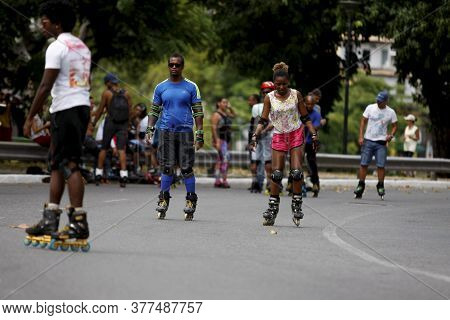 Salvador, Bahia / Brazil - February 21, 2016: People Seen Rollerblading And Practicing Physical Acti