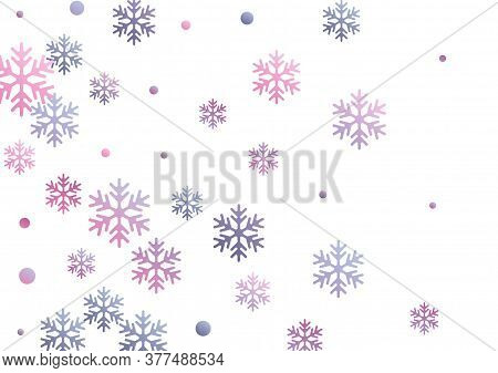 Crystal Snowflake And Circle Elements Vector Graphics. Cool Winter Snow Confetti Scatter Flyer Backg