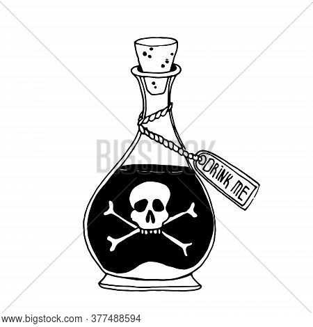 Happy Halloween. Poison In A Bottle. Bottle Icon With Poison Sticker, Skull With Crossbones On A Whi