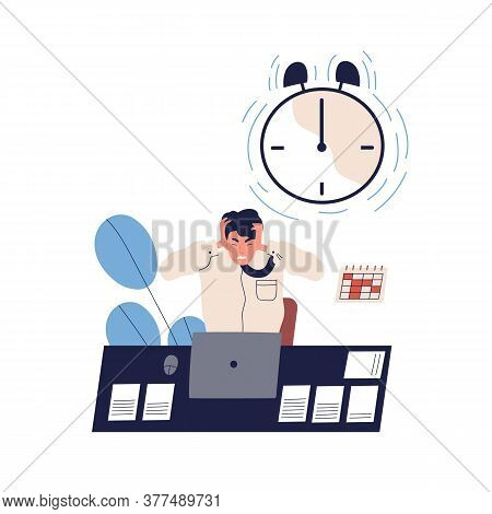 Concept Of Missing Deadline, Bad Time Management. Scene Of Tired, Furious, Stressed Man Clutch Head,