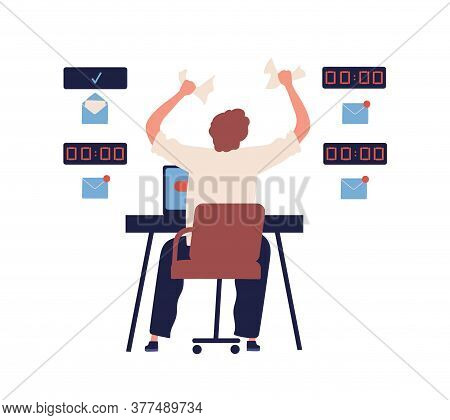 Concept Of Missing Deadline, Bad Time Management. Scene Of Tired, Frustrated, Furious, Stressed Man