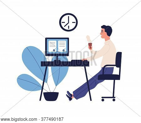 Concept Of Good Time Management, Productive Work, Self Organization. Office Man Having Coffee Break