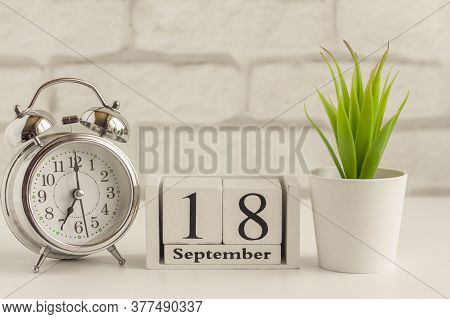 September 18 According To The Wooden Calendar.one Day Of The Autumn Month.calendar For September. Au