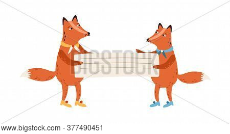 Red Cute Foxes Holding Empty Banner, Placard With Place For Text. Childish Decoration, Scrapbook Ele