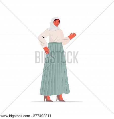 Arabic Woman In Traditional Clothes Beautiful Arab Girl Female Cartoon Character Standing Pose Full