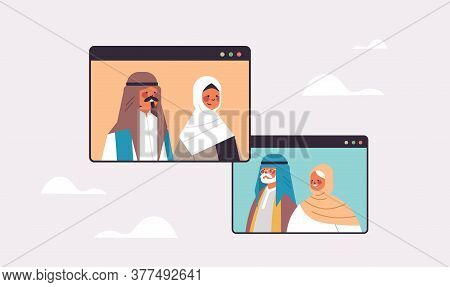 Arab Couple Having Virtual Meeting With Grandparents During Video Call Family Chat Communication Con