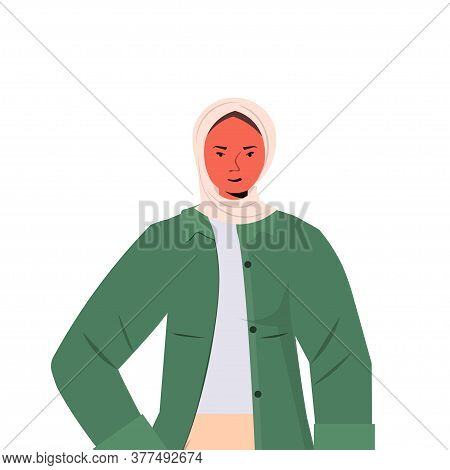 Arabic Woman In Traditional Clothes Arab Female Cartoon Character Portrait Vector Illustration