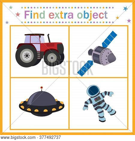 Map Game For Children's Development, Find An Extra Object, Where All The Objects Belong To The Space