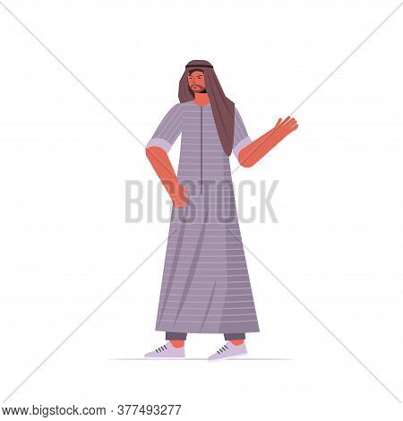 Arabic Man In Traditional Clothes Arab Male Cartoon Character Standing Pose Full Length Isolated Vec