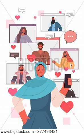 Arab Woman Using Smartphone Chatting In Online Dating App With Arabic Men In Web Browser Windows Soc