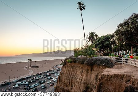 Santa Monica / Ca - July 26 2015: View Of The Beach, The Ocean Front Walk, The Pacific Coast Highway