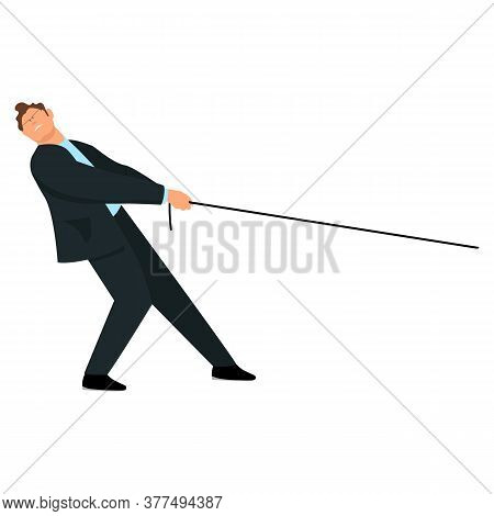 The Man Pulls The Rope. The Businessman Pulls The Rope. Vector Image