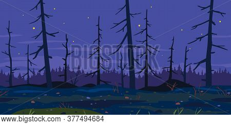Trunks Of Dead Trees In Night Forest, Game Background Tillable Horizontally, Mystical Spooky Night F