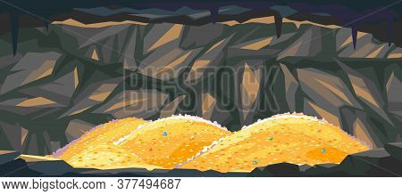 Heaps Of Gold Coins In Dark Cave, Treasures Hidden Deep In The Cave, Wealth Conceptual Illustration,