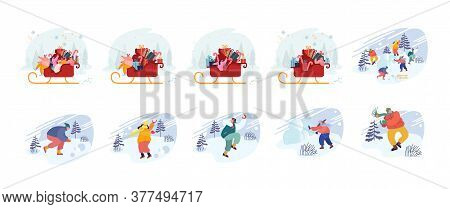 Set Of Male And Female Characters On Christmas Vacation Playing Snowballs, Riding Sledge With Xmas G