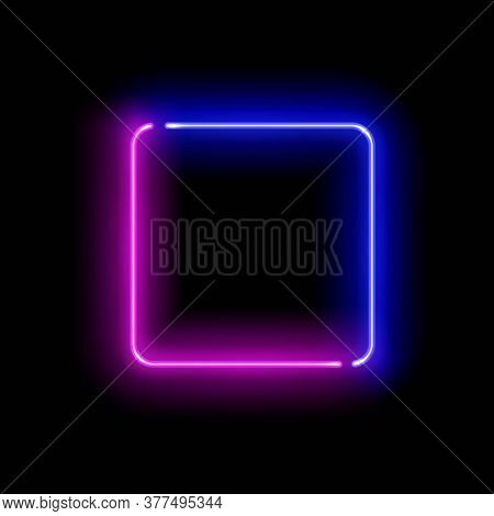 Realistic Gradient Neon Square Frame. Pink And Blue Colored Blank Template Isolated On Black Empty G
