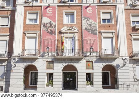 Madrid, Spain - July 11th, 2020: Spanish Agency For International Development Cooperation (aecid) Bu