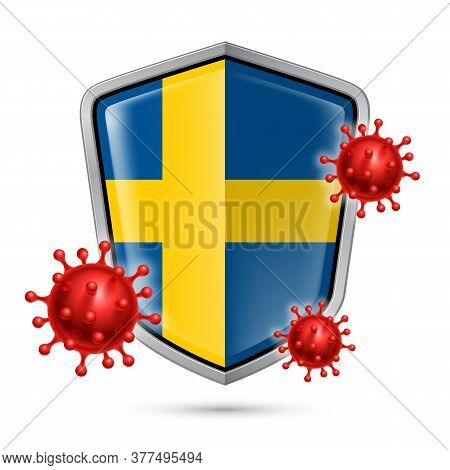 Flag Of Sweden On Metal Shiny Shield Icon And Red Corona Virus Cells. Concept Of Health Care And Saf