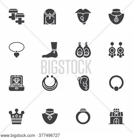 Fashionable Jewelry Collection, Vector Icons Set, Modern Solid Symbol Collection, Filled Style Picto