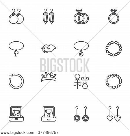 Jewelry Collection, Line Icons Set, Outline Vector Symbol Collection, Linear Style Pictogram Pack. S