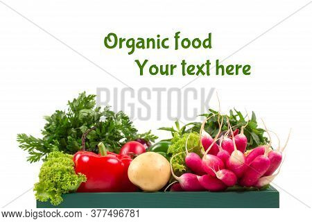 Healthy Organic Food Background. Green Wooden Box Full Of Fresh Farm Raw Vegetables From Local Farme