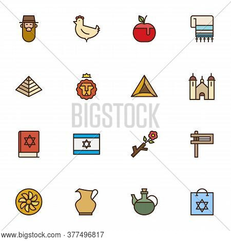 Judaism Related Filled Outline Icons Set, Line Vector Symbol Collection, Linear Colorful Pictogram P