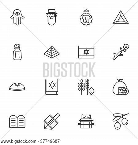 Judaism Related Line Icons Set, Jewish Hanukkah Outline Vector Symbol Collection, Linear Style Picto