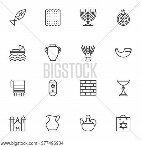Jewish Hanukkah Holiday Line Icons Set, Judaism Outline Vector Symbol Collection, Linear Style Picto