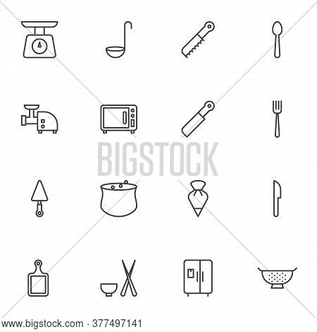 Kitchen, Kitchenware Vector Icons Set, Modern Solid Symbol Collection, Filled Style Pictogram Pack.