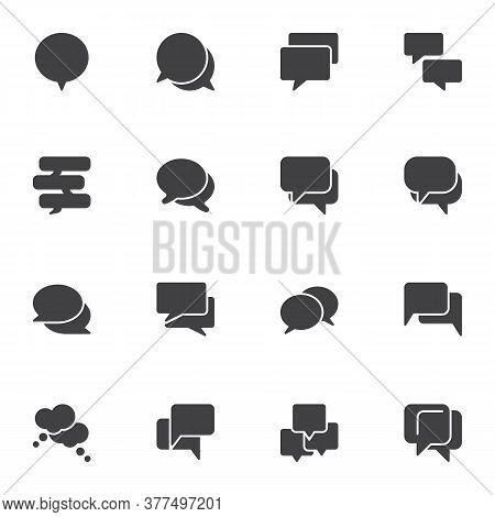 Speech Bubbles Vector Icons Set, Modern Solid Symbol Collection, Filled Style Pictogram Pack. Signs,