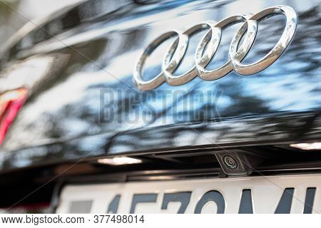 Grodno, Belarus - December 2019: Audi A6 4g C7 Luxury Car Rear View Camera Close Up Parking Assistan