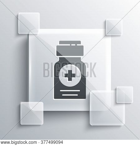 Grey Medicine Bottle Icon Isolated On Grey Background. Bottle Pill Sign. Pharmacy Design. Square Gla