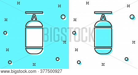 Black Line Punching Bag Icon Isolated On Green And White Background. Random Dynamic Shapes. Vector I