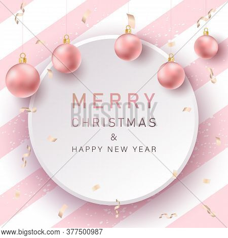 Merry christmas background with pink realistic balls. Christmas. Christmas Vector. Christmas Background. Merry Christmas Vector. Merry Christmas banner. Christmas illustrations. Merry Christmas Holidays. Merry Christmas and Happy New Year Vector Backgroun