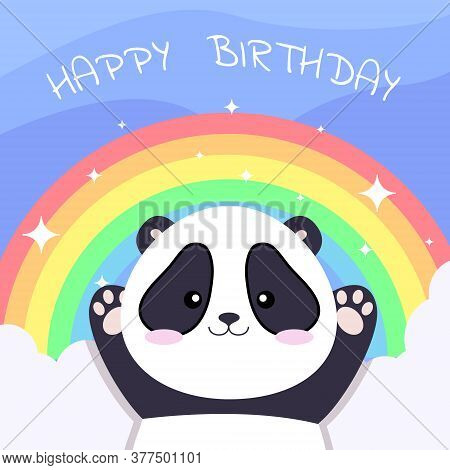 Happy birthday illustration of a cute panda with rainbow in kawaii style. Happy birthday illustration, Happy birthday banner, Happy birthday background, Happy birthday card. Cute vector panda with rainbow.