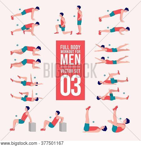 Workout Men Set. Male Doing Fitness And Yoga Exercises\nlunges, Pushups, Squats, Dumbbell Rows, Burp