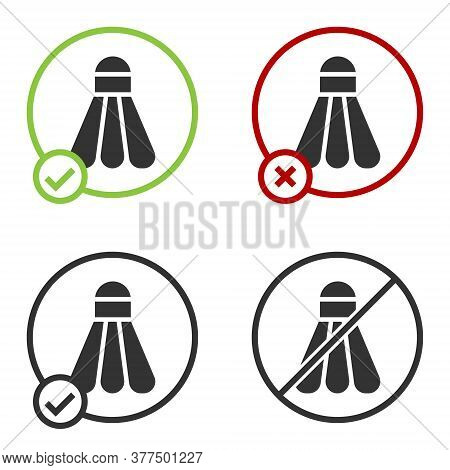 Black Badminton Shuttlecock Icon Isolated On White Background. Sport Equipment. Circle Button. Vecto