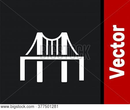 White Golden Gate Bridge Icon Isolated On Black Background. San Francisco California United States O