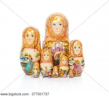 Group of Russian nesting dolls (also named as Matrioshka) isolated on white background