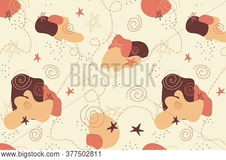 Red And Orange Abstract Sleepy Vector Seamless Pattern With Stars And Clouds. Night Dreams Doodle Fo