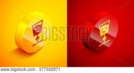 Isometric Wine Glass Icon Isolated On Orange And Red Background. Wineglass Sign. Circle Button. Vect