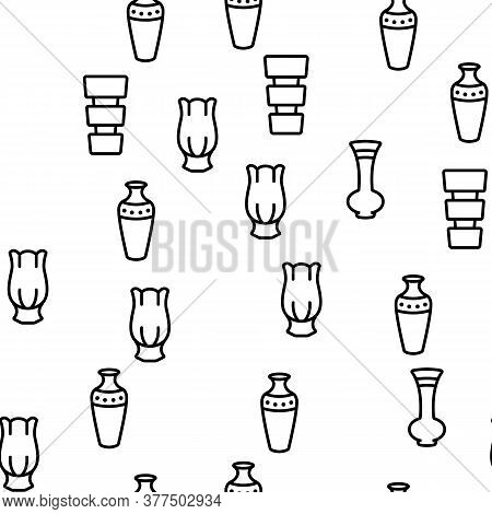 Vase Flowers Decorative Dishware Vector Seamless Pattern Thin Line Illustration