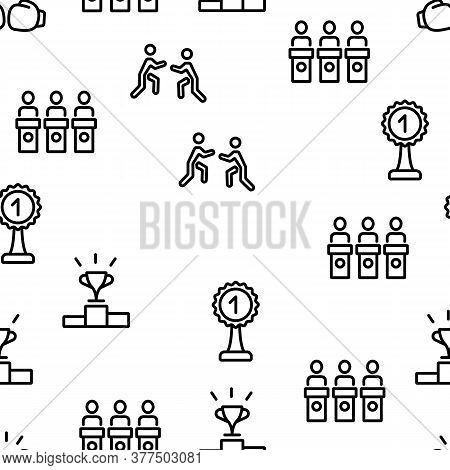 Contest Sport Activity Vector Seamless Pattern Thin Line Illustration