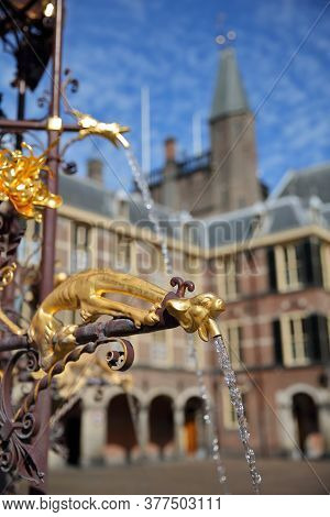 Detail (gargoyle) Of The Neo-gothic Fountain In The Ridderzaal (knight's Hall), Which Forms The Cent
