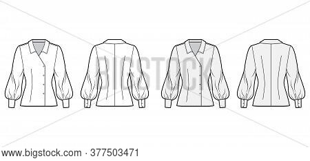 Blouse Technical Fashion Illustration Set With Regular Collar, Long Bishop Sleeves, Fitted Body, Dou