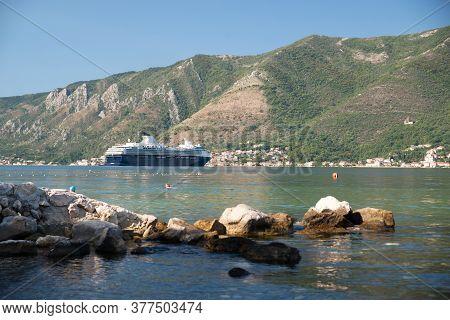 Cruise Liner Close To Seashore In Montenegro