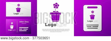 Logotype Flower In Pot Icon Isolated On White Background. Plant Growing In A Pot. Potted Plant Sign.